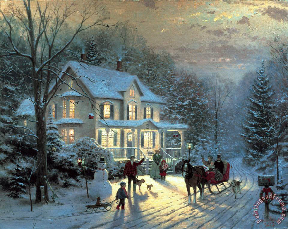 Home for The Holidays painting - Thomas Kinkade Home for The Holidays Art Print
