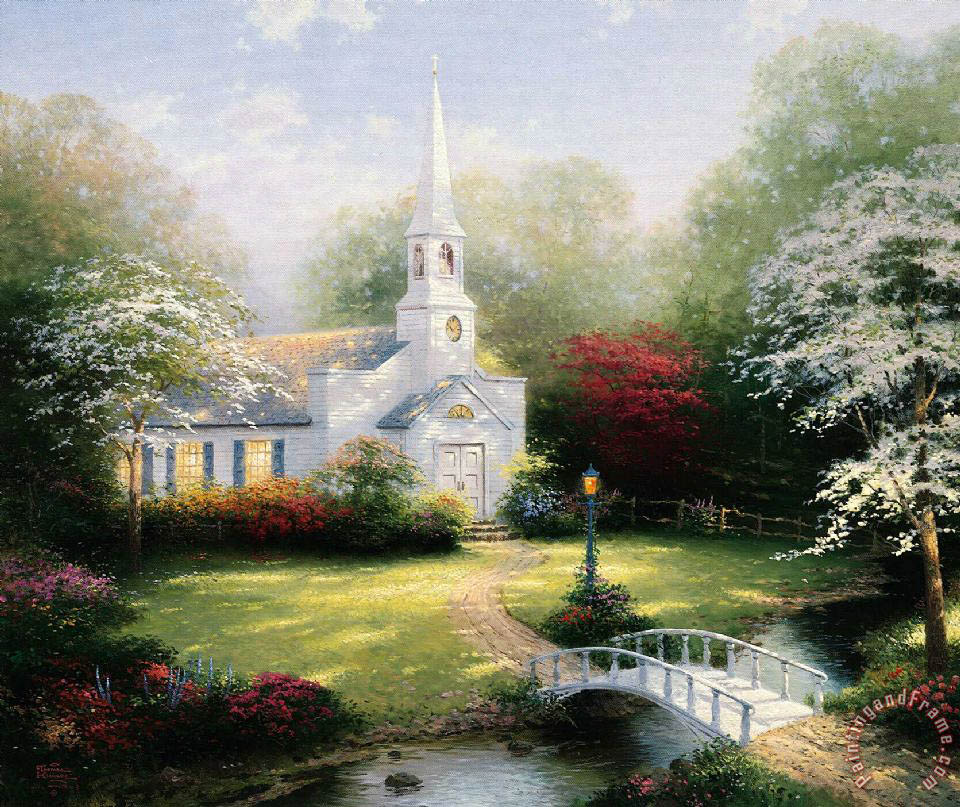 Hometown Chapel painting - Thomas Kinkade Hometown Chapel Art Print