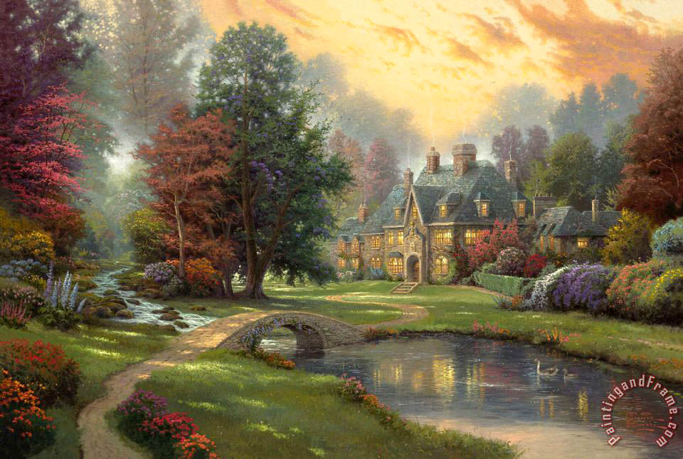Lakeside Manor painting - Thomas Kinkade Lakeside Manor Art Print