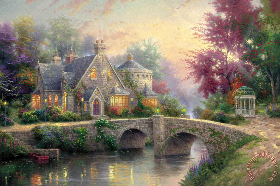 Thomas Kinkade Lamplight Manor Painting Lamplight Manor Print For Sale