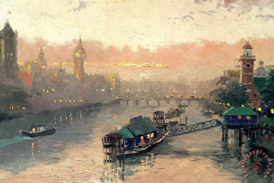 London at Sunset painting - Thomas Kinkade London at Sunset Art Print