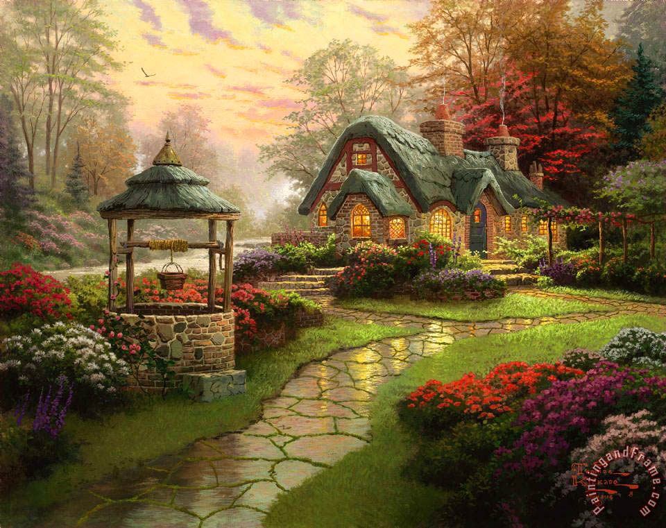 Thomas Kinkade Make a Wish Cottage Art Print