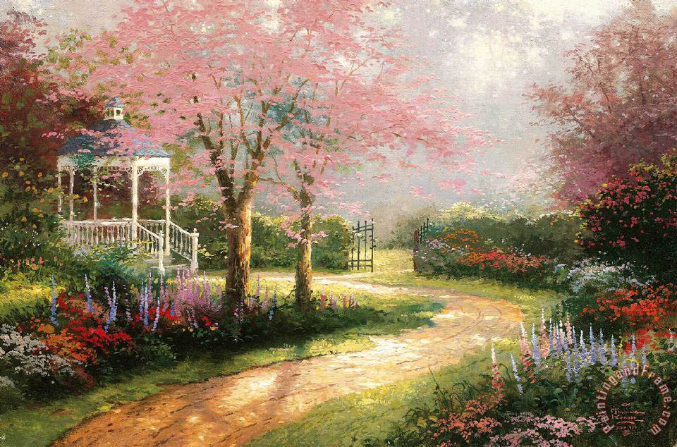 Thomas Kinkade Morning Dogwood Art Print
