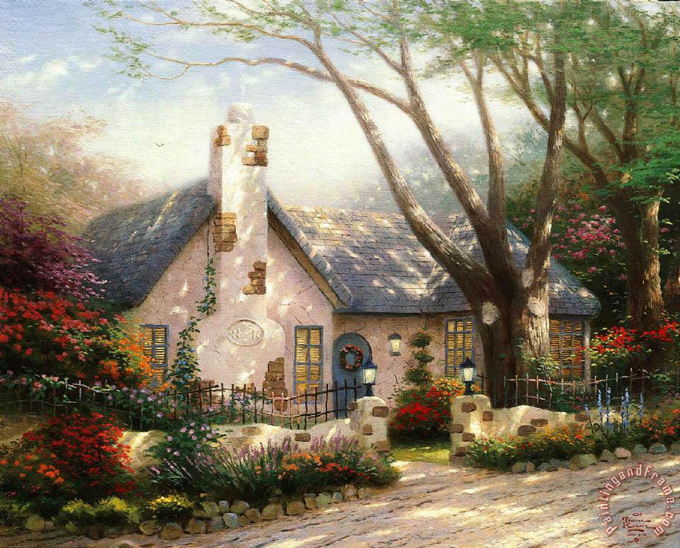 Thomas Kinkade Morning Glory Cottage Painting Morning