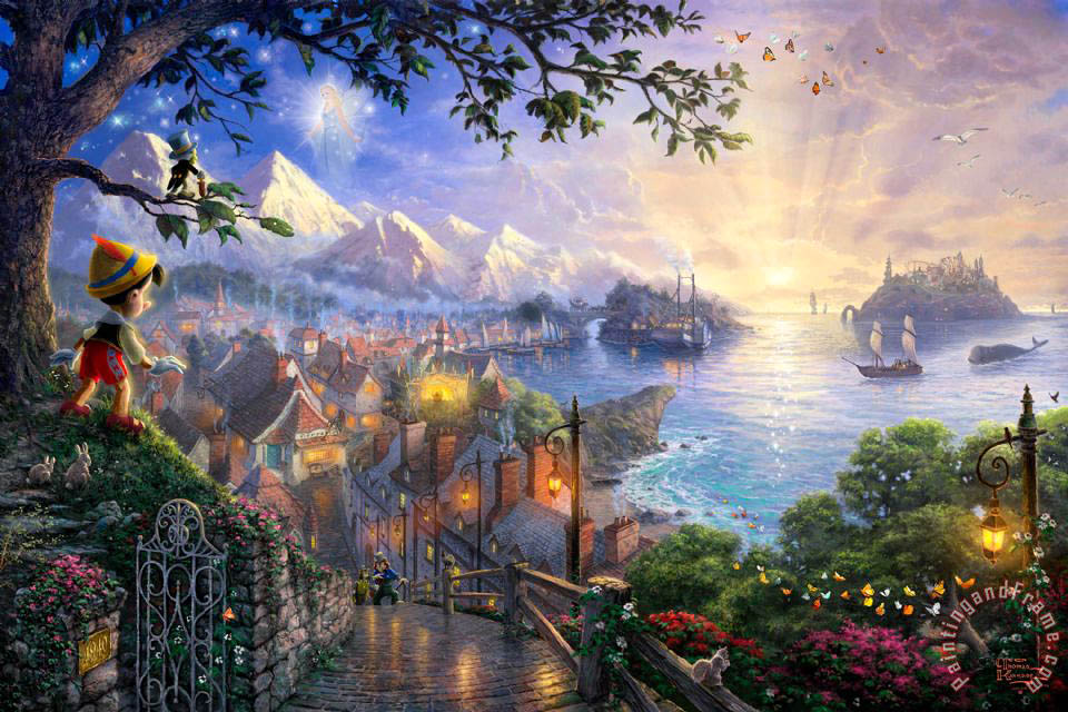 Thomas Kinkade Pinocchio Wishes Upon a Star Art Print