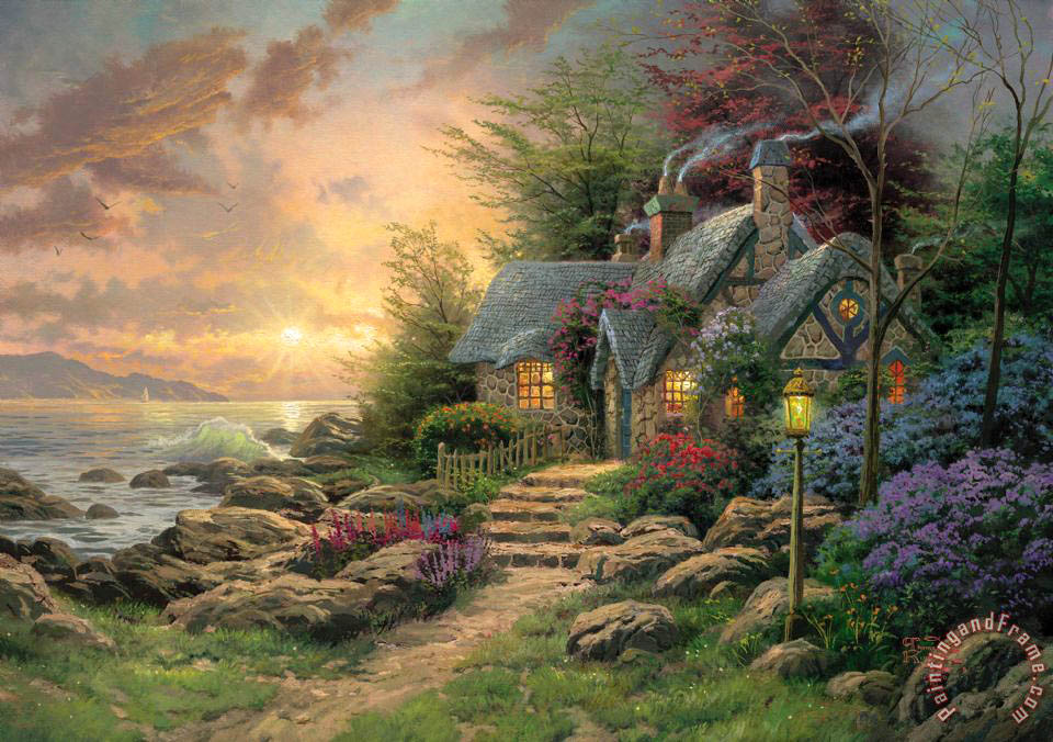 Thomas Kinkade Seaside Hideaway Art Painting