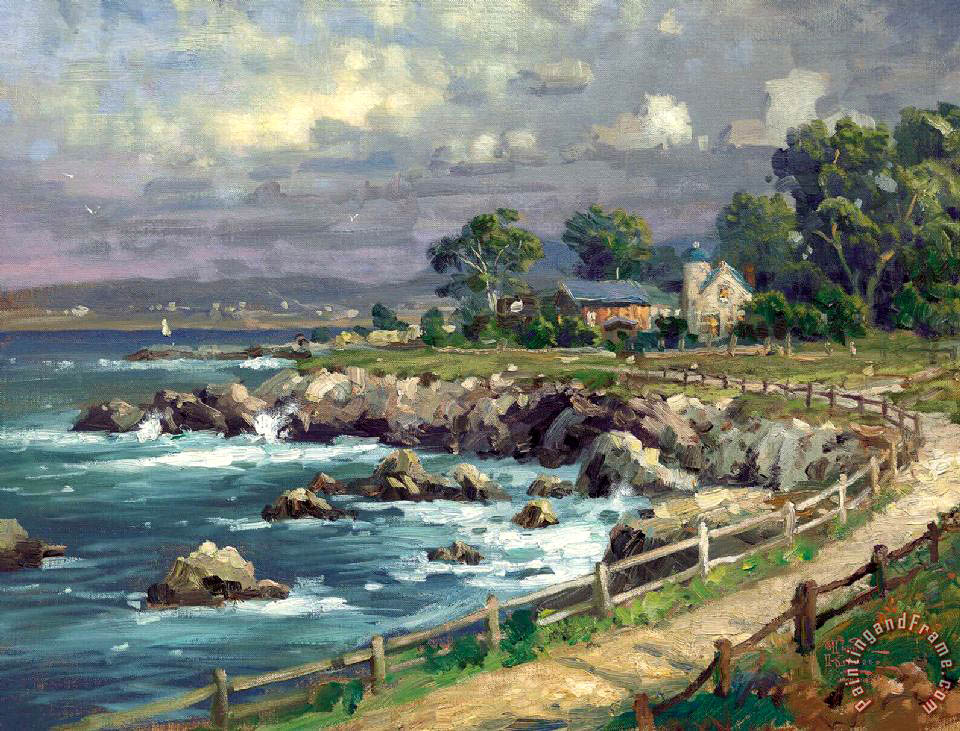 Seaside Village painting - Thomas Kinkade Seaside Village Art Print