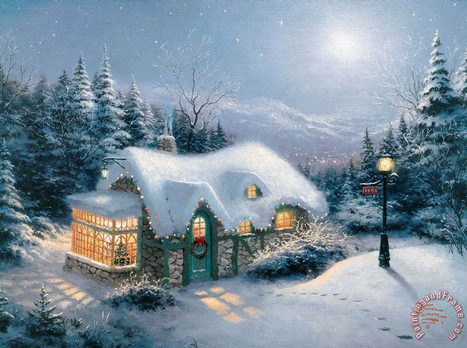 Silent Night painting - Thomas Kinkade Silent Night Art Print
