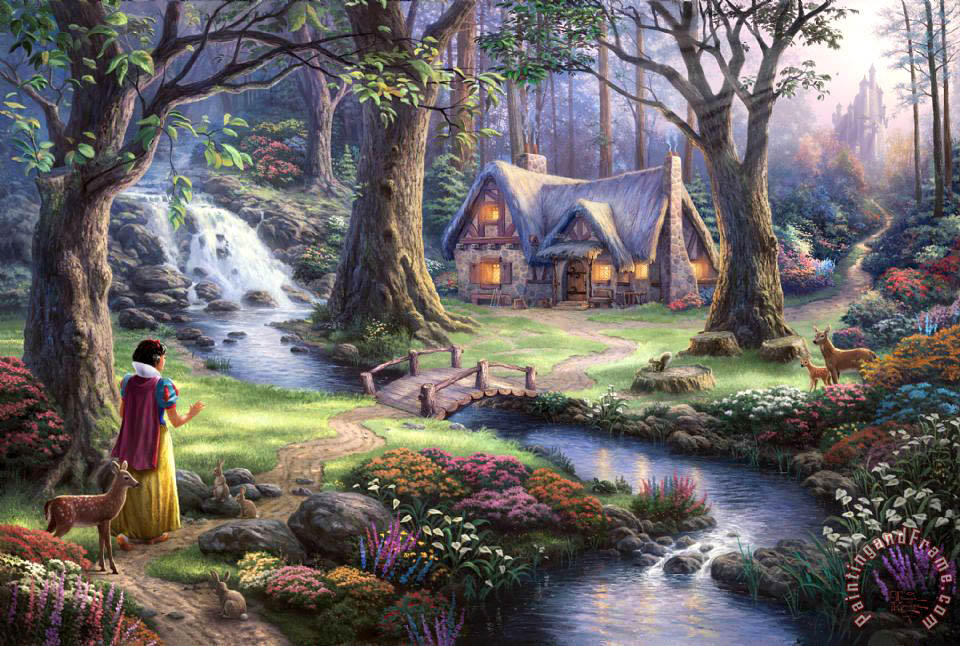 Thomas Kinkade Snow White Discovers The Cottage Art Print