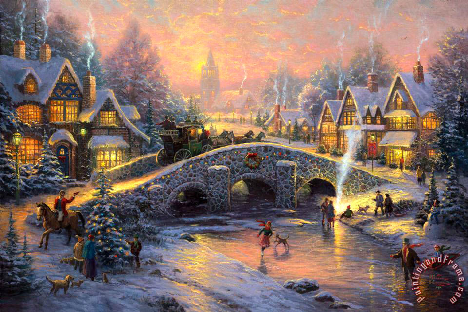 Thomas Kinkade Spirit of Christmas Art Print