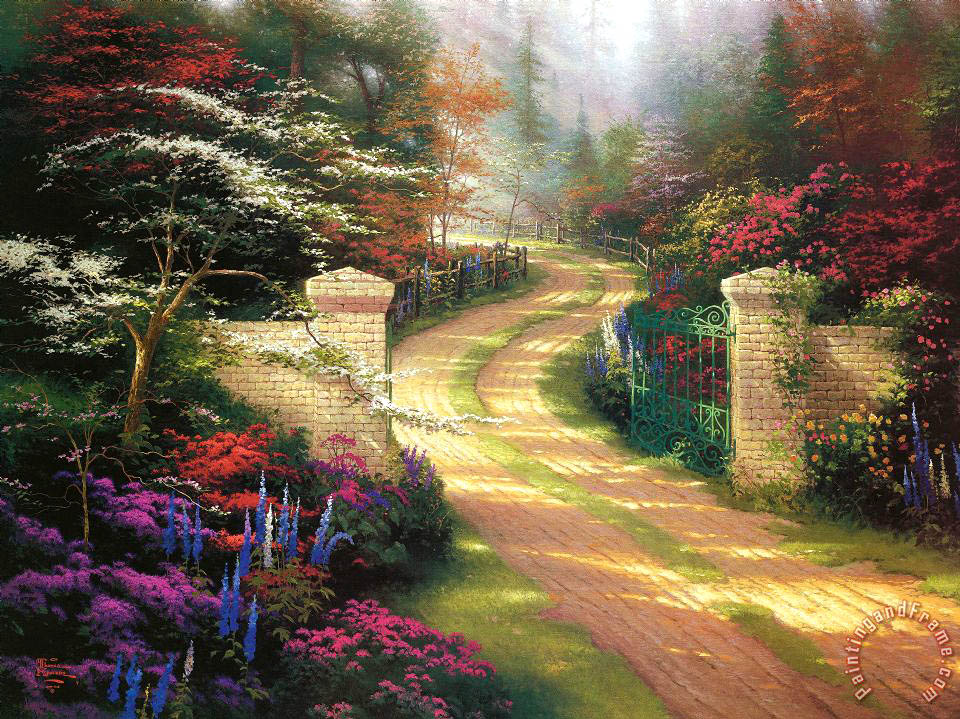 Spring Gate painting - Thomas Kinkade Spring Gate Art Print