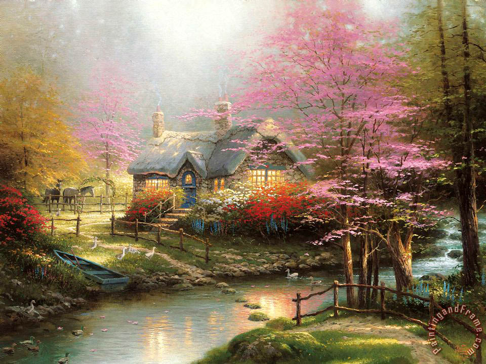 Thomas Kinkade Stepping Stone Cottage Art Print