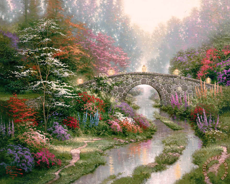 Stillwater Bridge painting - Thomas Kinkade Stillwater Bridge Art Print