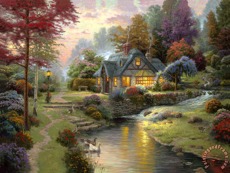 Stillwater Cottage painting - Thomas Kinkade Stillwater Cottage Art Print