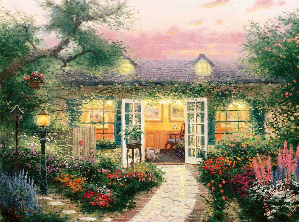 Thomas Kinkade Studio in The Garden Art Print