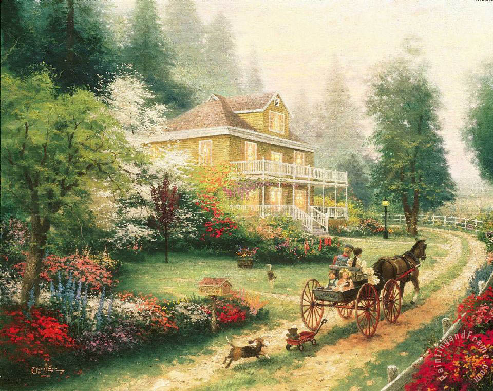 Sunday at Apple Hill painting - Thomas Kinkade Sunday at Apple Hill Art Print