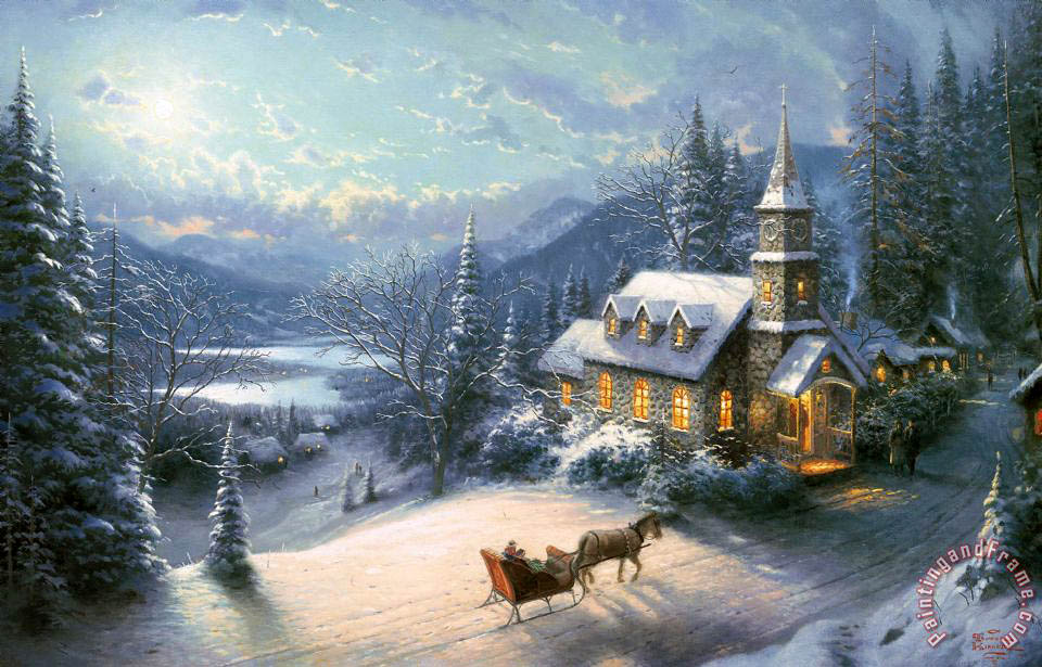 Sunday Evening Sleigh Ride painting - Thomas Kinkade Sunday Evening Sleigh Ride Art Print