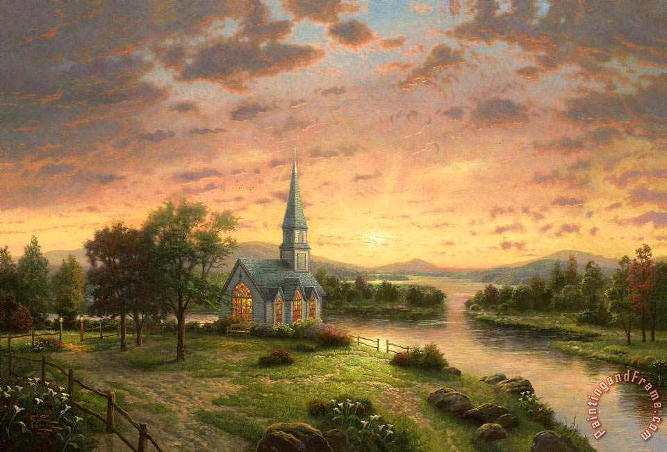 Sunrise Chapel painting - Thomas Kinkade Sunrise Chapel Art Print