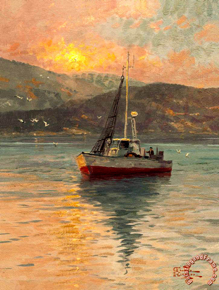 Sunrise, Sea of Galilee painting - Thomas Kinkade Sunrise, Sea of Galilee Art Print