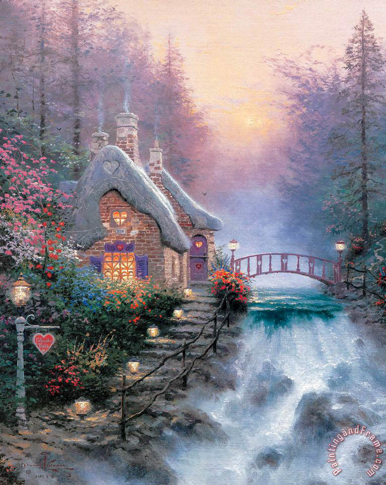 Sweetheart Cottage Ii painting - Thomas Kinkade Sweetheart Cottage Ii Art Print
