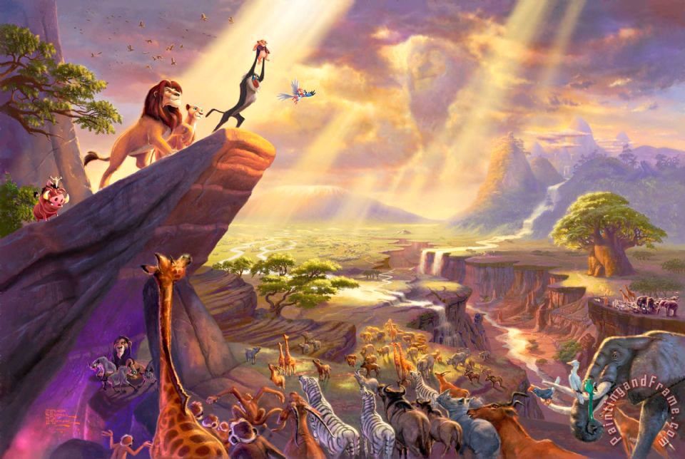 The Lion King painting  -  Thomas Kinkade The Lion King Art Print