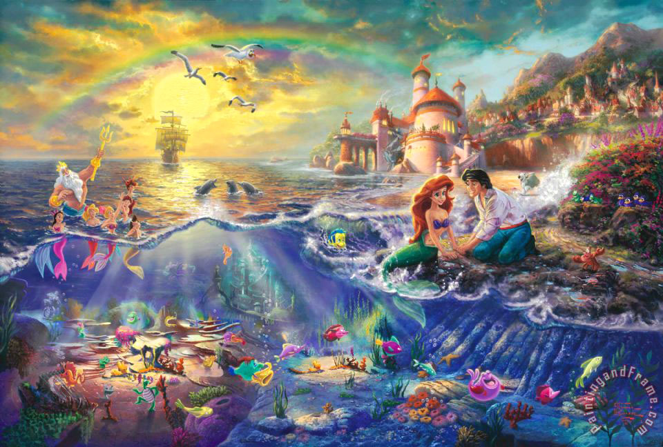 The Little Mermaid painting - Thomas Kinkade The Little Mermaid Art Print