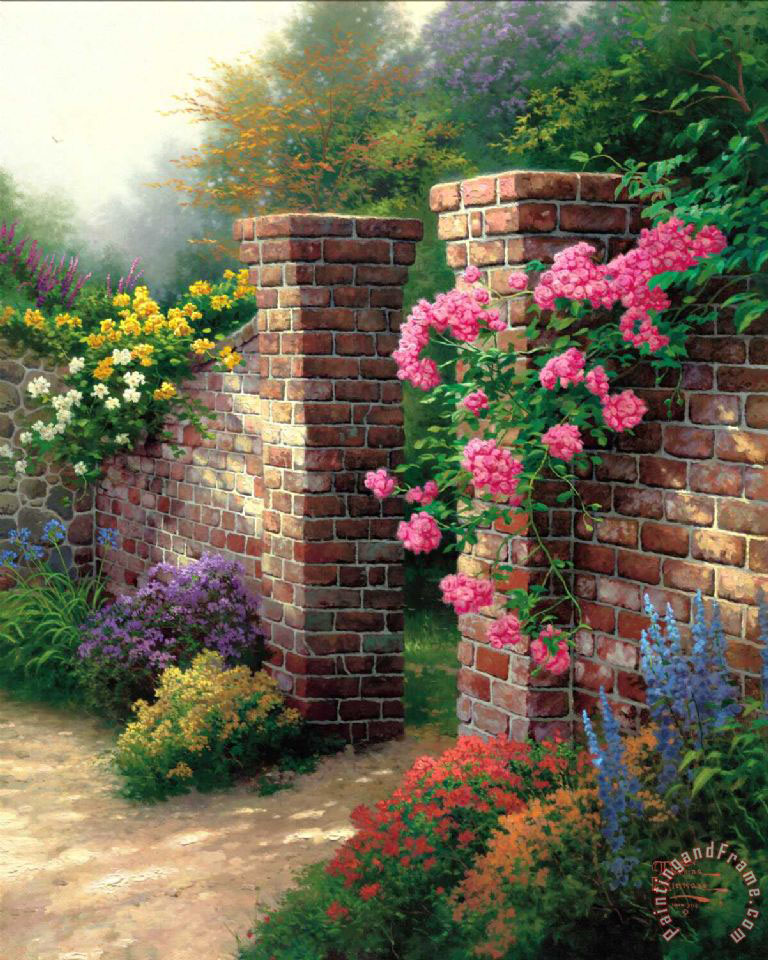 Thomas Kinkade The Rose Garden Art Print