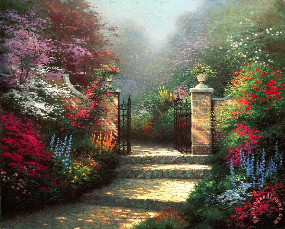 Thomas Kinkade The Victorian Garden Painting The