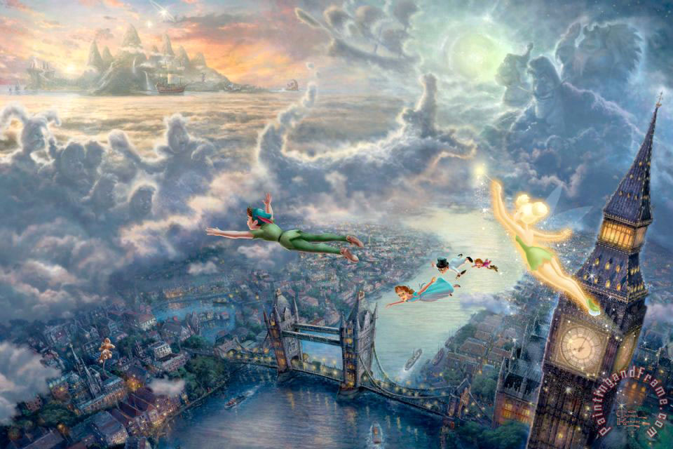 Thomas Kinkade Tinker Bell And Peter Pan Fly to Neverland Art Print