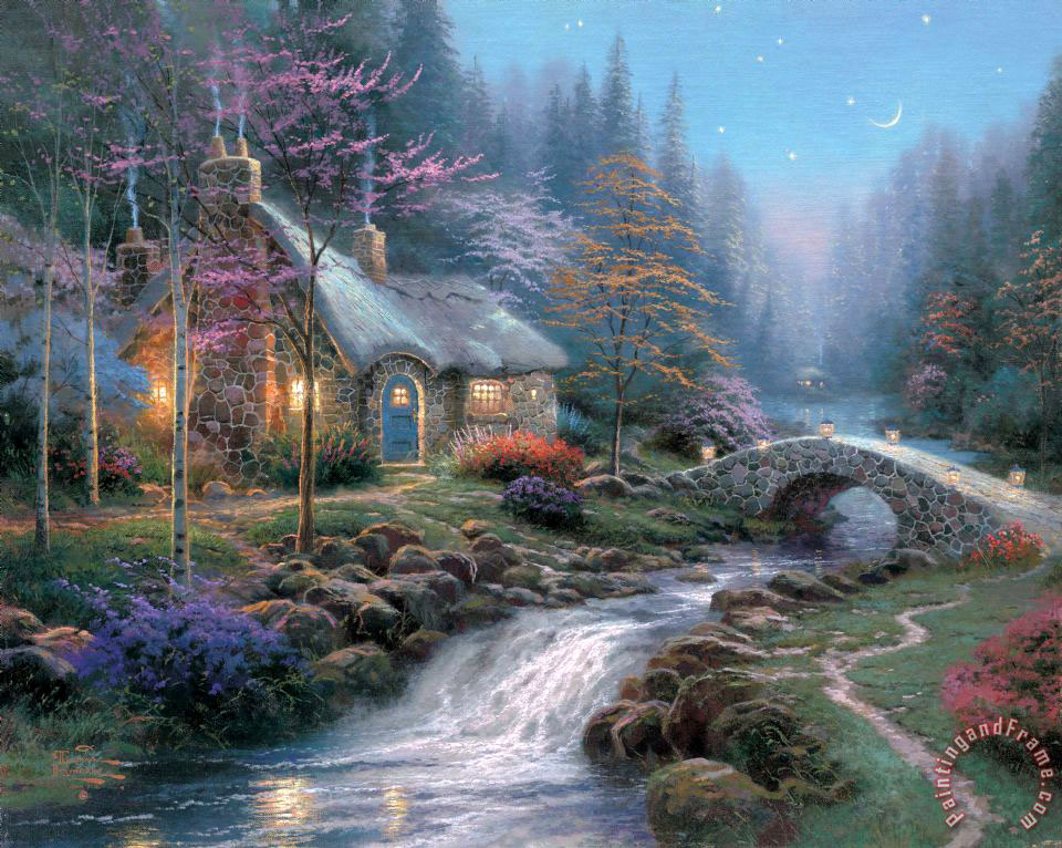 Twilight Cottage painting - Thomas Kinkade Twilight Cottage Art Print