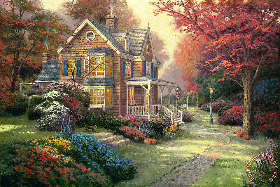 Victorian Autumn painting - Thomas Kinkade Victorian Autumn Art Print