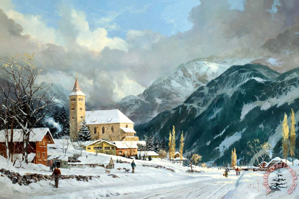 Winter Chapel painting - Thomas Kinkade Winter Chapel Art Print