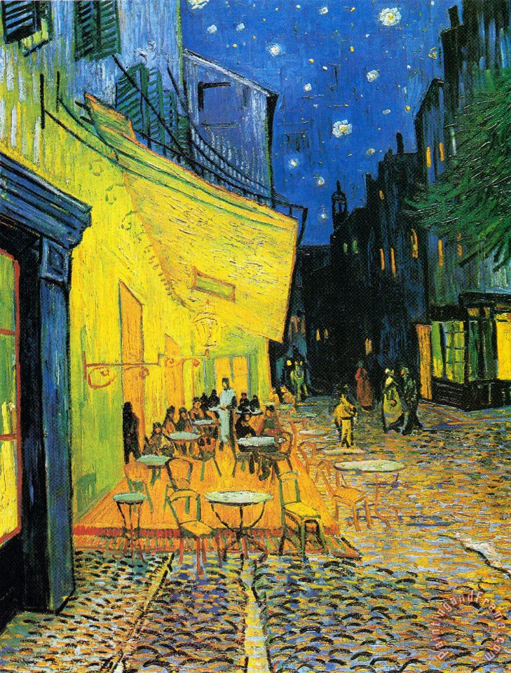 Terrace of The Cafe on The Place Du Forum in Arles in The Evening painting - Vincent van Gogh Terrace of The Cafe on The Place Du Forum in Arles in The Evening Art Print
