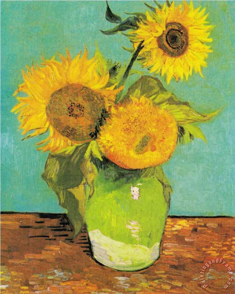 Three Sunflowers in a Vase painting - Vincent van Gogh Three Sunflowers in a Vase Art Print