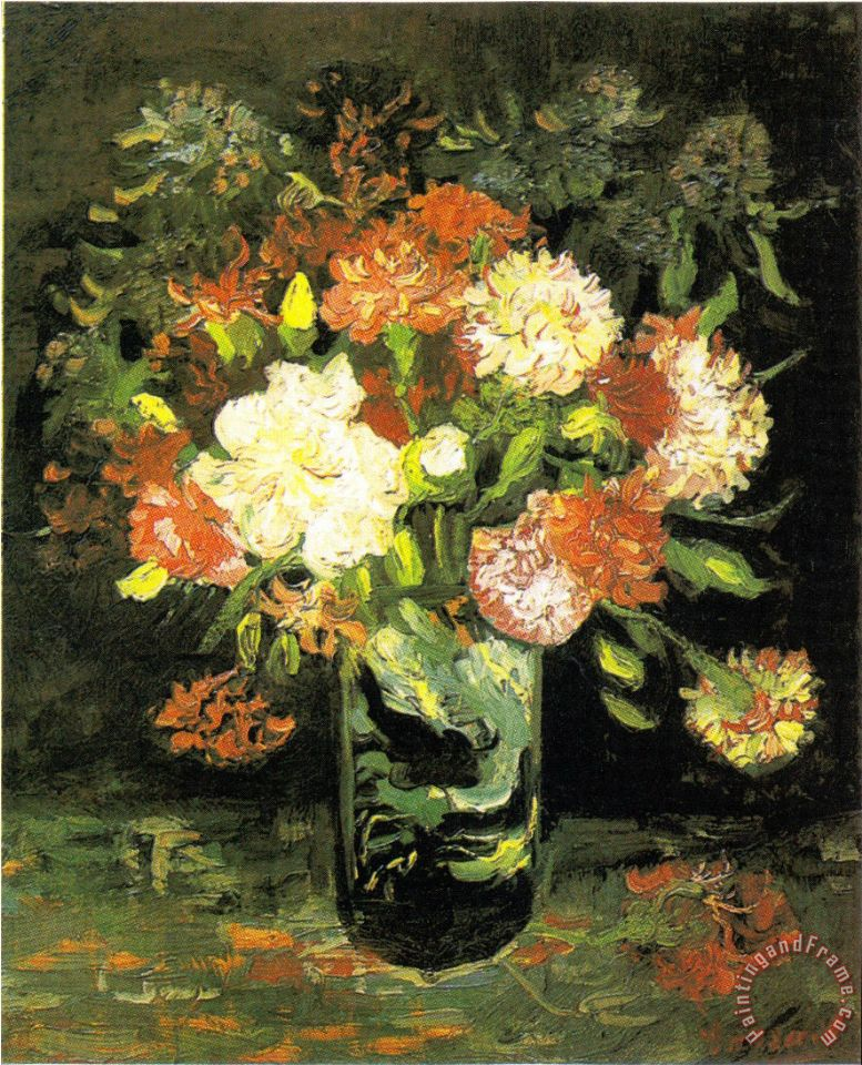 Vase with Carnations painting - Vincent van Gogh Vase with Carnations Art Print
