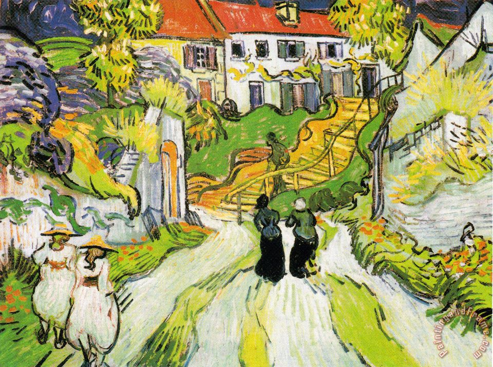 Village Street And Stairs in Auvers with Figures painting - Vincent van Gogh Village Street And Stairs in Auvers with Figures Art Print