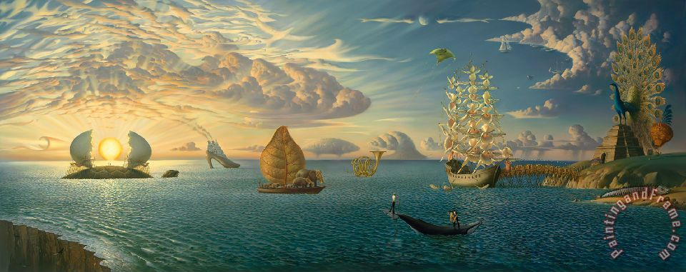 Mythology of The Oceans And Heavens painting - Vladimir Kush Mythology of The Oceans And Heavens Art Print