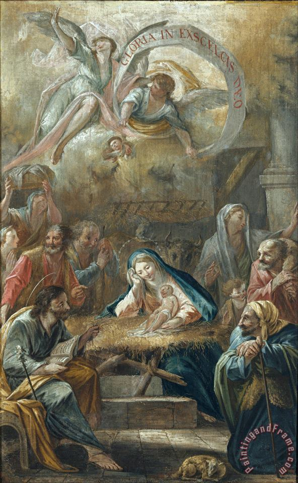 'El Vigata' Francesc Pla Duran Birth of Jesus And The Adoration of The Shepherds Art Painting