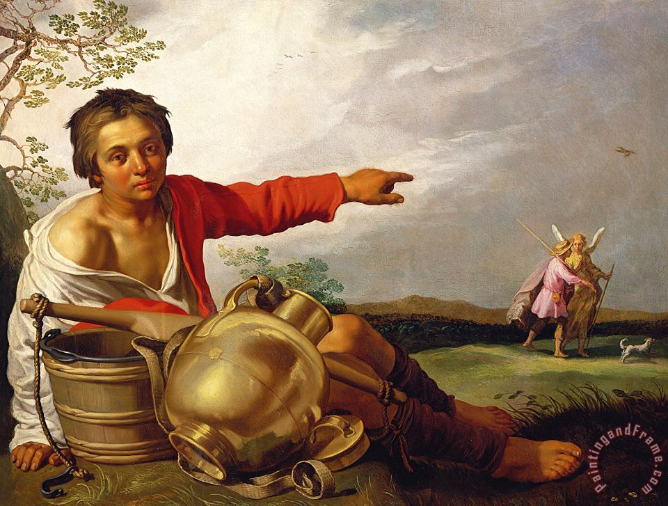 Shepherd Boy Pointing At Tobias And The Angel painting - Abraham Bloemaert Shepherd Boy Pointing At Tobias And The Angel Art Print