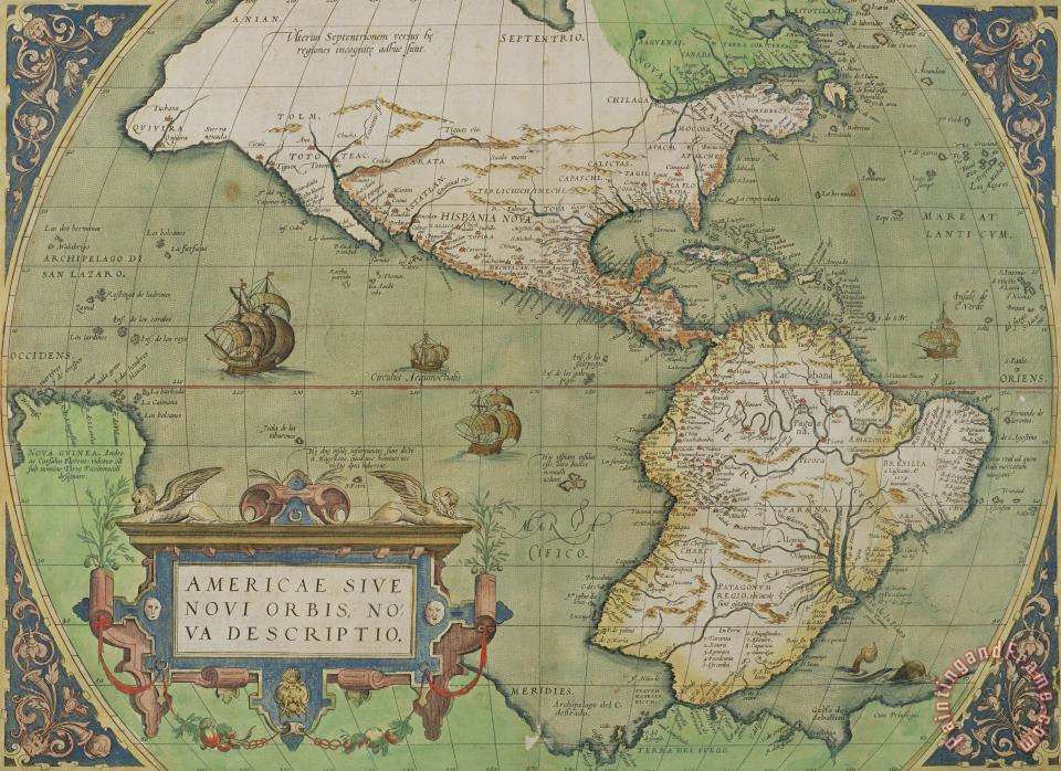 Map of North and South America painting - Abraham Ortelius Map of North and South America Art Print