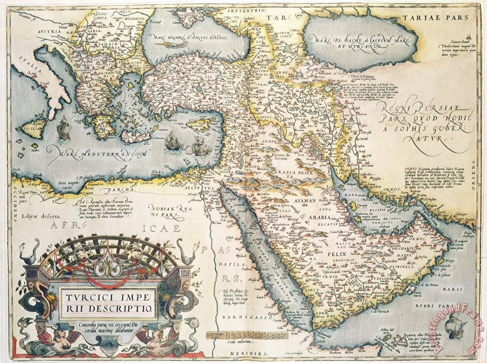 Map of the Middle East from the Sixteenth Century painting - Abraham Ortelius Map of the Middle East from the Sixteenth Century Art Print