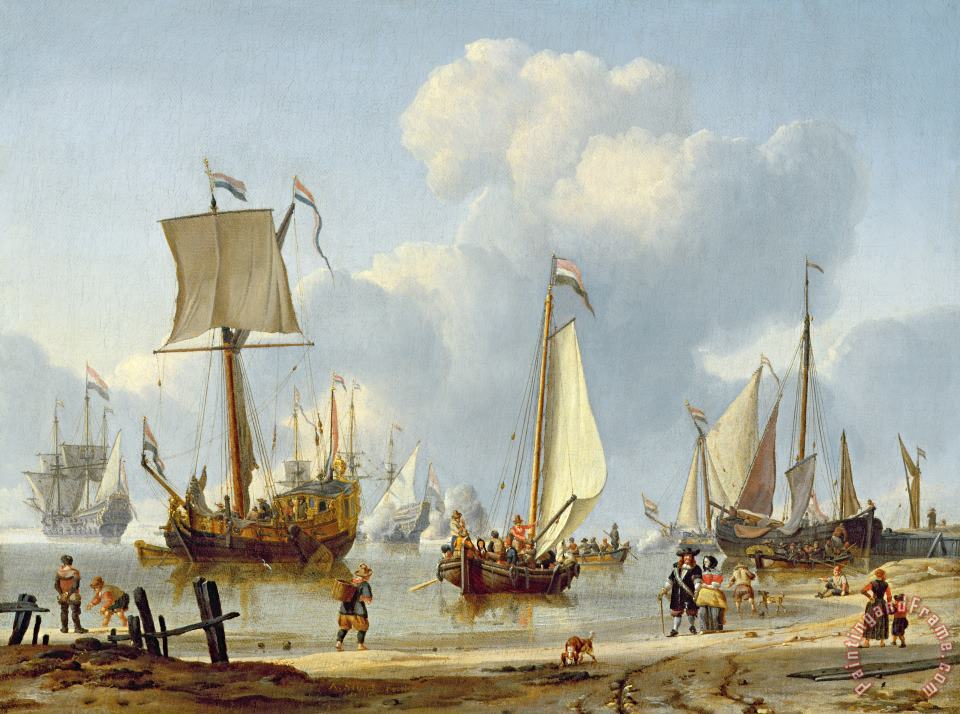 Ships in Calm Water with Figures by the Shore painting - Abraham Storck Ships in Calm Water with Figures by the Shore Art Print
