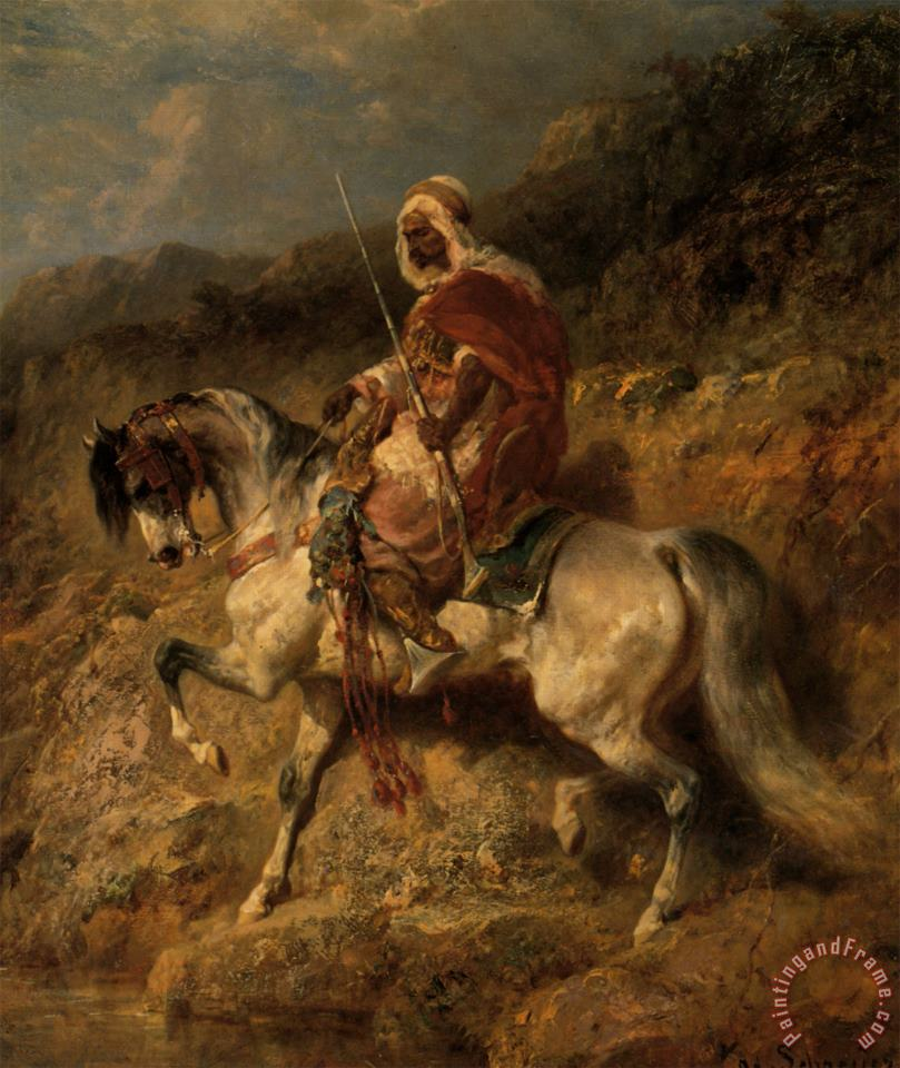An Arab Horseman on The March painting - Adolf Schreyer An Arab Horseman on The March Art Print