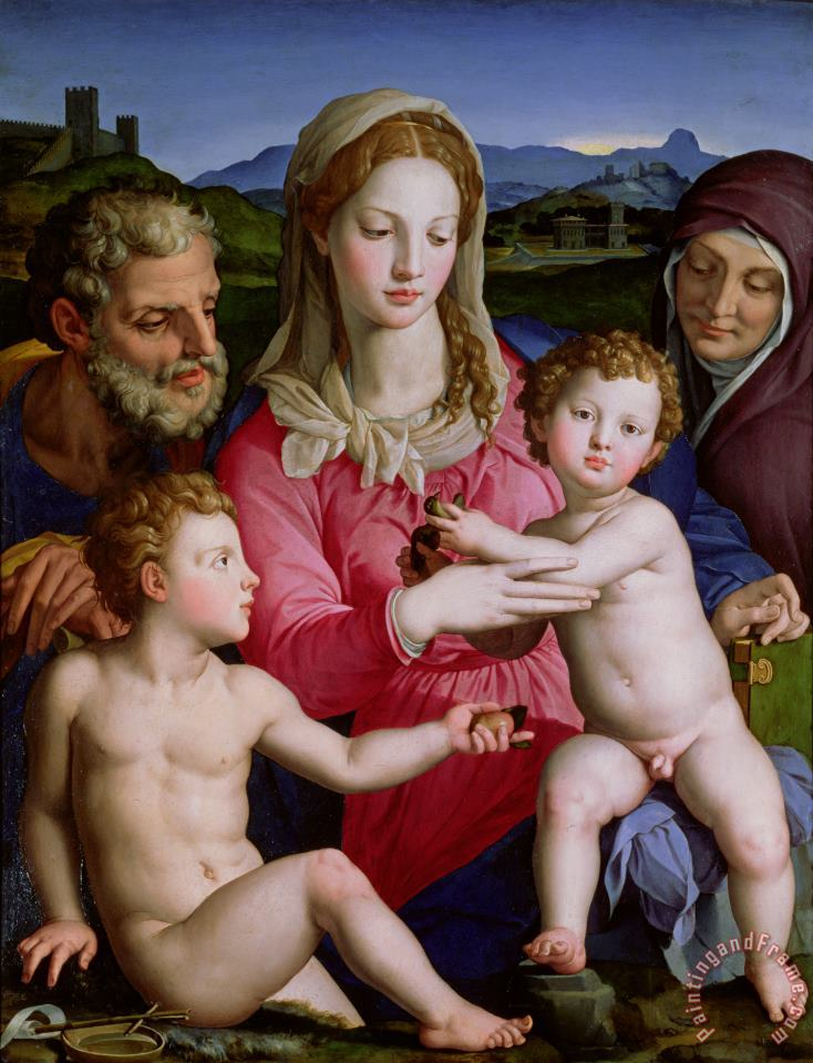 Holy Family with St Anne and the infant St John the Baptist painting - Agnolo Bronzino Holy Family with St Anne and the infant St John the Baptist Art Print
