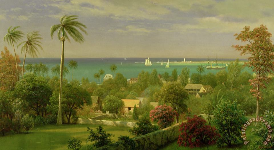 Panoramic View of the Harbour at Nassau in the Bahamas painting - Albert Bierstadt Panoramic View of the Harbour at Nassau in the Bahamas Art Print