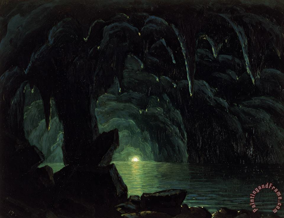 The Blue Grotto painting - Albert Bierstadt The Blue Grotto Art Print