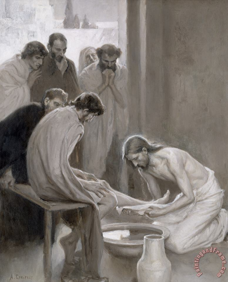 Jesus Washing The Feet Of His Disciples painting - Albert Gustaf Aristides Edelfelt Jesus Washing The Feet Of His Disciples Art Print