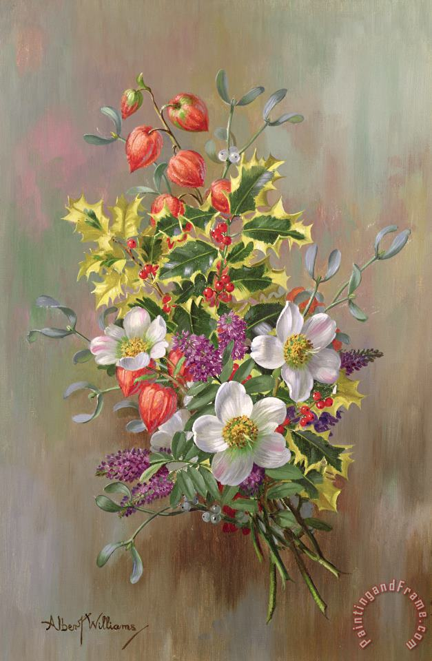 A Yuletide Posy painting - Albert Williams A Yuletide Posy Art Print