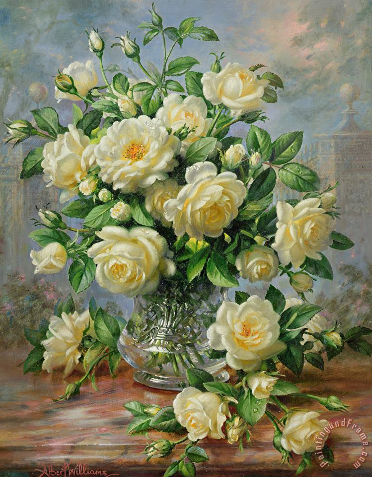 Princess Diana Roses in a Cut Glass Vase painting - Albert Williams Princess Diana Roses in a Cut Glass Vase Art Print