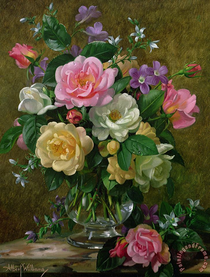 Roses In A Glass Vase painting - Albert Williams Roses In A Glass Vase Art Print